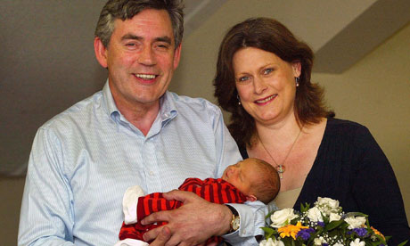 Gordon and Sarah Brown with Fraser, after his birth in July 2006.