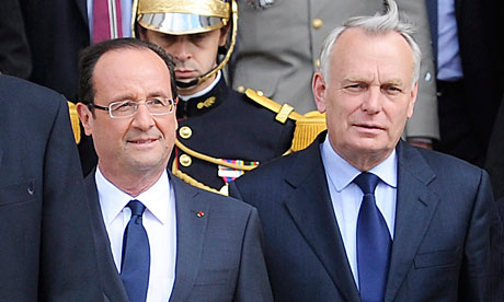 Francois Hollande (l) and Jean- Marc Ayrault (r)