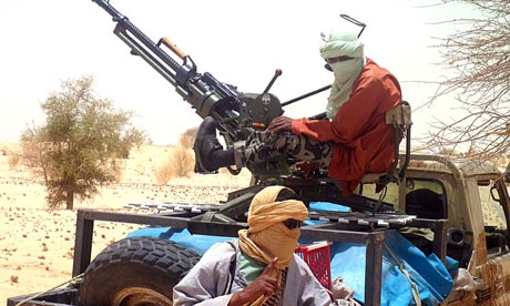 Ansar Dine rebels near Timbuktu, in rebel-held northern Mali.