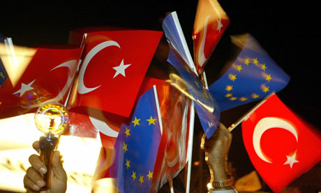 Turkish flag EU flag
