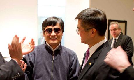 Chen Guangcheng, left, with the US ambassador to China, Gary Locke