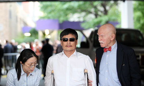 Chinese activist Chen Guangcheng speaks to the media at New York University.