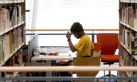 student working in a libary