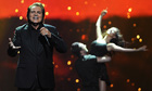 Engelbert Humperdinck performs at Eurovision song contest in Baku.