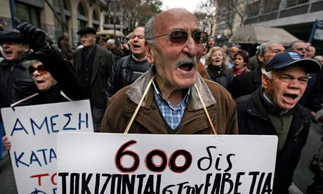 Pensioners protest, Athens