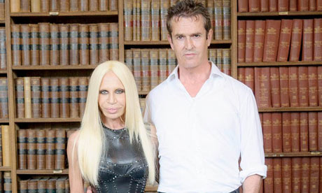 Donatella Versace with Rupert Everett at the Oxford Union