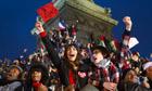 Francois Hollande victory celebration at Place de la Bastille in Paris