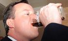 David Cameron enjoys a pint