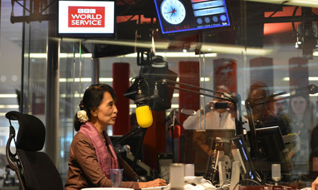 Aung San Suu Kyi at the studios of BBC World Service, in London.