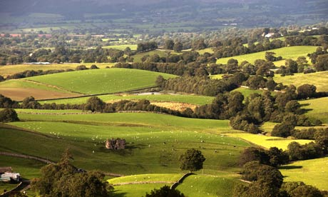 Farmland near Wharton Fell overlooking Lammerside Castle, near Kirkby Stephen, in the Eden Valley