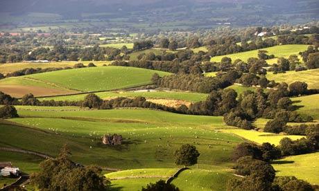 Farmland near Wharton Fell overlooking Lammerside Castle, near Kirkby Stephen, in the Eden Valley