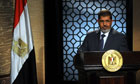 Mohamed Morsi makes his first televised speech to the Egyptian people, at a studio in Cairo.
