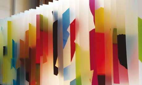 Hanging screen prints by Jonathan Saunders and Jess Flood-Paddock