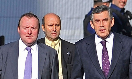 Damian McBride (far left) with Gordon Brown in 2008.