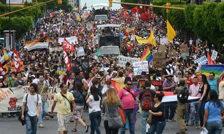 A protest march against sexual discrimination in San José, Costa Rica.