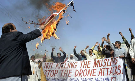 A Pakistani protest against US drone strikes. The latest two attacks have killed 12 people