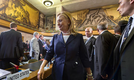 US secretary of state Hillary Clinton arrives at the UN's crisis meeting on Syria yesterday.