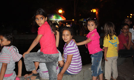 Gaza live: Children play in the park. 