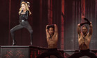 Madonna performs with dancers in Paris