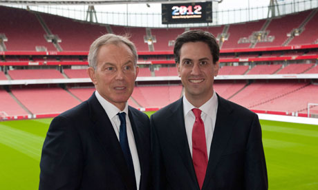 Tony Blair with Labour party leader Ed Miliband