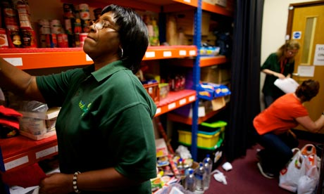 Inside the storeroom at the Mosaic Church food bank, Coventry, July 2012