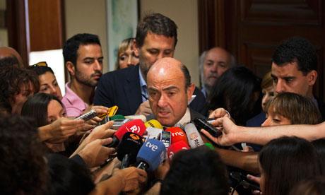 Spain Luis De Guindos Spanish parliament in Madrid