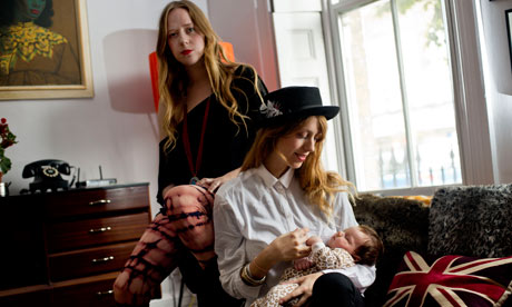 Joe Strummer's daughters Lola (left) and Jazz, with Jazz's daughter Boudicca. Photograph: Sarah Lee for the Guardian