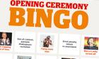Olympic Opening Ceremony Bingo
