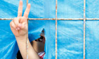A Syrian refugee boy flashes a victory sign.