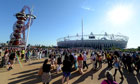 Spectators arrive at Olympic Park