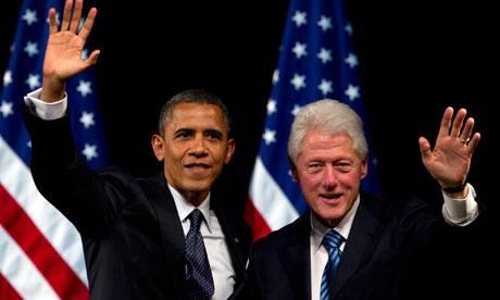 Barack Obama with Bill Clinton.