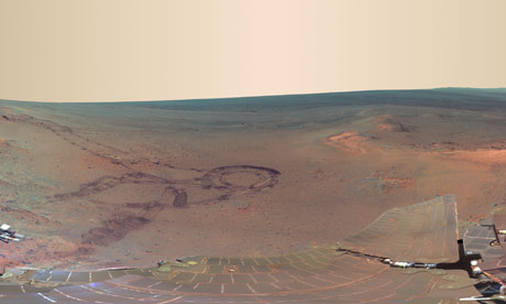 The latest image sent from Mars shows an impact crater created billions of years ago.