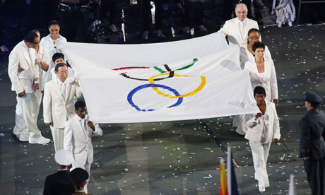 Doreen Lawrence, bottom right, with the Olympic flag at the opening ceremony.