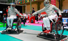 Pierre Mainville (right), Canadian wheelchair fencer