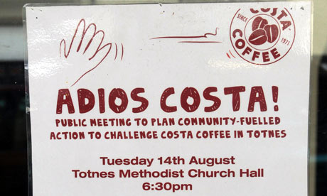 A poster advertising a meeting against the Costa shop.