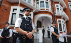Police outside Equador's embassy in Knightsbridge, London, where Julian Assange sought asylum