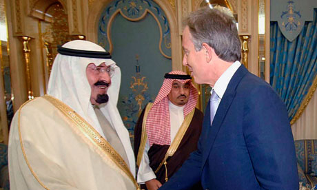 Saudi Arabia's King Abdullah welcomes former British Prime Minister Blair in Riyadh