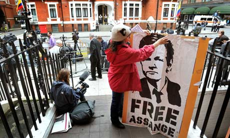 A Julian Assange supporter stakes her spot opposite the Ecuadorian embassy where he claimed asylum to avoid extradiction to Sweden to face rape allegations.