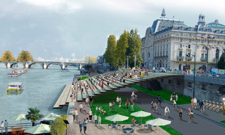 Paris to return Seine to the people with car-free riverside plan City mayor behind Paris Plages wins fight to pedestrianise large sections of 1960s expressway on left and right bank