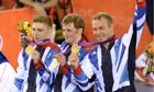 London 2012 men's team sprint winners Philip Hindes, Jason Kenny and Sir Chris Hoy