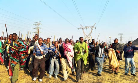 Striking miners the Marikana mine in Rustenburg