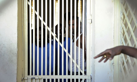 Somali inmates looks out from their cell at Hargeisa jail