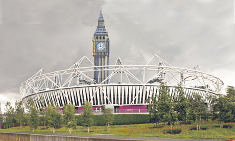 Big Ben and the Olympic stadium … the future of British democracy.