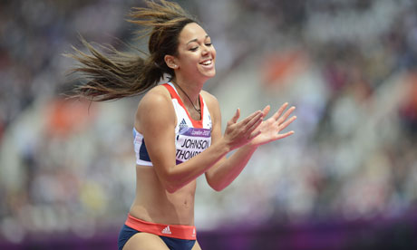 Britain's Katarina Johnson-Thompson celebrates while competing in the women's heptathlon high jump.