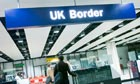 UK Border control at an airport in Britain
