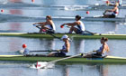 Team GB's Helen Glover and Heather Stanning row towards Britain's first gold medal.