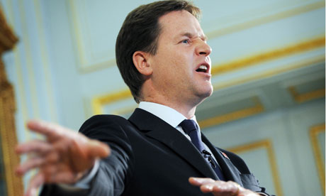 Nick Clegg during a press conference