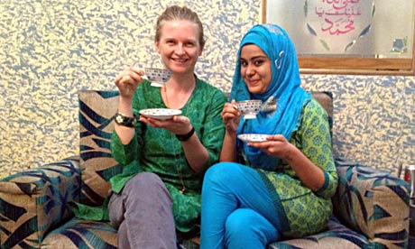 Helen Pidd celebrating iftar with Aisha.