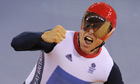 Chris Hoy takes gold in the team sprint final, 2012
