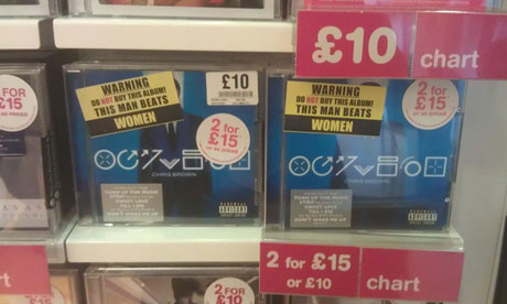 Chris Brown albums with protesters' warning stickers